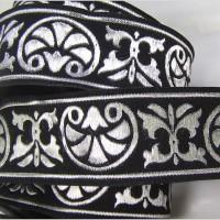 Galon ruban médiéval 3m10 x 34mm motif St Jacques de Compostelle noir et argenté