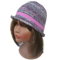 Chapeau melon bonnet vegan au crochet dégradé rose violet mauve, bohème chic hippie chic cadeau original pour femme chic