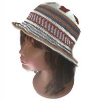 Chapeau femme style ethnique wayuu crochet coton beige marron bleu