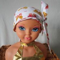 Foulard, turban chimio fille, jeune adolescente blanc avec des papillons jaunes