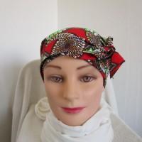 Foulard chimio femme, turban de couleur rouge, verte, marron et beige  motif ethnique