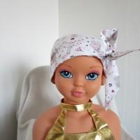 Foulard, turban chimio fille, jeune adolescente blanche avec des souris habillées en fée