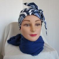 Foulard chimio femme, turban de couleur bleu marine, bleue et blanche motif ethnique