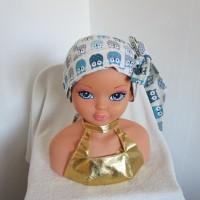 Foulard, turban chimio fille, jeune adolescente blanche avec des chouettes turquoises