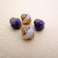 Lot de 4 perles Turbines Mix Violet 11x10 mm