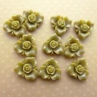 Fleurs résine kaki, fleurs à coller, cabochon fleurs, vert, 15mm, lot de 10