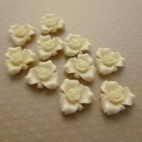 Fleurs résine ivoire, fleurs à coller, cabochon fleurs, ivoire, écru, 15mm, lot de 10