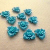 Fleurs résine bleues, fleurs à coller, cabochon fleurs, bleu canard, 15mm, lot de 10