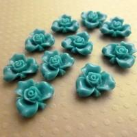 Fleurs résine teal, fleurs à coller, cabochon fleurs, bleu, 15mm, lot de 10