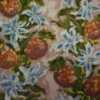 Original tissu ancien ou vintage à motifs d'ananas et de fleurs, coloris orangé