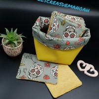 Lingettes lavables calaveras kaki clair et leur petit panier