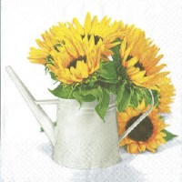 1 Serviette en papier Tournesol - Arrosoir - Fleur - Ref 1225