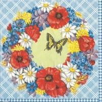 1 Serviette en papier Couronne de Fleurs - Coquelicots - Bleuets -  Ref 1232