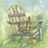 1 Serviette en papier Paysage - Chaise - Jardin - Fleur - Ref 1233