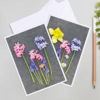 2  cartes de voeux photos des fleurs de printemps