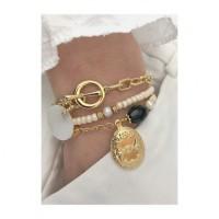 Bracelet pendentif plaqué or ovale