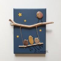 Tableaux oiseaux balançoire galets bois flotté