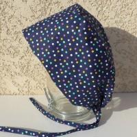 Calot chirurgical, chapeau de bloc en tissu coton motif aux pois multicolores fond bleu marine
