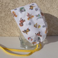 Calot chirurgical, chapeau de bloc en tissu coton motif avec des personnages de dessins animés