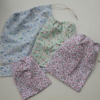 sacs à vrac en tissu coton fleuri , courses zéro déchet