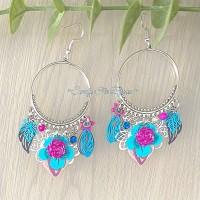 Boucles d?oreilles créoles«Fuschia Turquoise»
