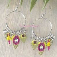 Boucles d?oreilles créoles «Fuschia/kaki/jaune»