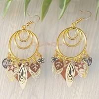 Boucles d?oreilles créoles «doré/marron»