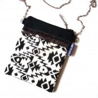 Petit sac bandoulière en coton ethnique noir et blanc