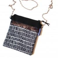Petit sac bandoulière en coton graphique noir et blanc
