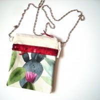 Petit sac bandoulière en coton cactus et tropiques