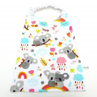 Serviette de table élastiquée pour enfant en coton avec koalas, serviette cantine.
