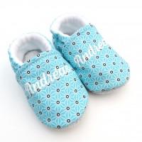 Chaussons souples pour bébé personnalisables semelle cuir et coton bleu
