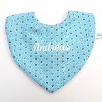 Bavoir en coton bleu et éponge blanche personnalisable au prénom de bébé