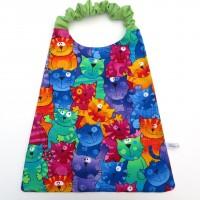 Serviette de table élastiquée pour enfant en coton avec chat, serviette cantine.