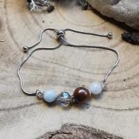 Bracelet ajustable , perles fines  , acier inoxydable