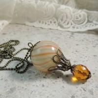 montgolfière basic , sautoir verre soufflé , ambré