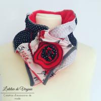 Echarpe, col, tour de cou, polaire, laine, coton, rouge et gris. Accessoire de mode, fait-main, original, unique. Style bohème chic.