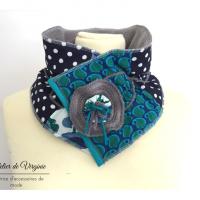 Echarpe, col, tour de cou, polaire, laine, coton, bleu canard. Accessoire de mode, fait-main, original, unique. Style bohème chic.