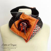 Echarpe, col, tour de cou, polaire, laine, coton, orange et gris. Accessoire de mode, fait-main, original, unique. Style bohème chic.