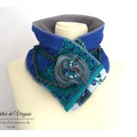 Echarpe, col, tour de cou, polaire, laine, coton, bleu canard et gris. Accessoire de mode, fait-main, original, unique. Style bohème chic.