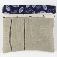 Bourse fermeture clic-clac métal flex en coton - beige bleu et blanc - motifs végétaux