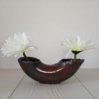 Vase à deux ouvertures - coupe pour création Ikebana - pot de fleurs double - centre de table