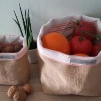 Panier toile de jute corbeille à fruits rangement minimaliste stockage de fruits organisation veronpiotcreation toile de jute et orange
