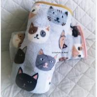 Plaid têtes de chats pour bébé 78cm x 113cm