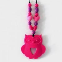 Collier d'allaitement / portage et son hibou / chouette rose avec perles rose et violet