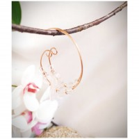 Prima Boucles d'oreilles créoles en perles de quartz sur fil de cuivre, pièce unique