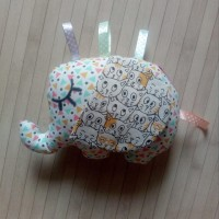 Doudou bébé éléphant Hochet en tissu