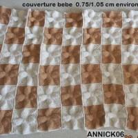 COUVERTURE BEBE, 3 coloris, fait main au crochet, laine acrylique,  FDP: gratuit a partir de 120?(totalité de votre commande) uniquement pour colis national