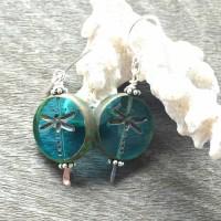 Boucles d'oreilles boho libellule, verre de bohème bleu et argent 925