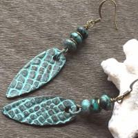 Boucles d'oreilles boho bronze patiné et turquoise africaine